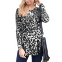 Classic Womens Leopard Printed Long Sleeve Round Neck Curved Hem Loose Fit Long T Shirt