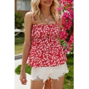 Cute Girls Ditsy Floral Printed Tied Shoulder Stringy Selvedge Slim Fit Cami Top in Red
