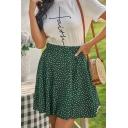 Trendy Polka Dot Printed High Waist Mini Pleated Flared Skirt in Green