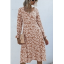 Pretty Ditsy Floral Printed Long Sleeve Sweetheart Neck Mid Pleated A-line Dress for Women