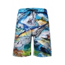 Mens 3D Cool Relax Shorts Animal Shark Fish Pattern Drawstring Mid Waist Knee-length Straight Fit Relax Shorts with Pocket