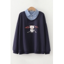 Popular Girls Korean Letter Cat Graphic False Two Piece Long Sleeve Polo Collar Loose Pullover Sweatshirt