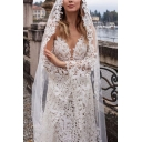Ladies Glamorous Crochet Lace Bell Sleeve Off the Shoulder See-through Maxi Fishtail Dressing Gown in White