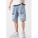 Popular Mens Jean Shorts Light Wash Ripped Drawstring Mid Rise Regular Fitted Jean Shorts with Pocket