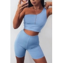 Edgy Looks Womens Plain One Shoulder Fitted Crop Tank Top & High Rise Skinny Pants Set