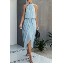 Creative Womens Solid Color Pleated Tie Slit Front Sleeveless Halter Long High Low Dress