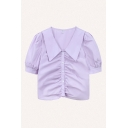 Pretty Ladies Plain Short Sleeve Point Collar Button up Ruched Regular Fit Cropped Shirt Top
