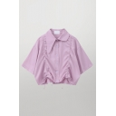 Unique Girls Solid Color Short Sleeve Asymmetric Point Collar Button-up Drawstring Front Loose Crop Shirt
