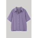 Basic Womens Solid Color Short Sleeve Spread Collar Button-up Loose Fit Shirt Top