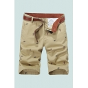 Mens Chinos Shorts Chic Figure Plane Printed Knee-Length Regular Fitted Zipper Fly Chinos Shorts