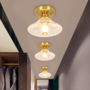 Flared/Bloom/Scalloped Hallway Ceiling Lamp Prismatic Glass 1 Bulb 7.5
