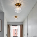 Brass Sphere Flush Mount Lamp Colonial Style Dimpled Glass 1 Light Doorway Ceiling Lighting