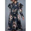 Black Pop Flower Print Ruffle Detail Gathered Waist Pleated Bow Tie Neck Long Sleeve Midi A-Line Dress for Women