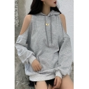 Chic Moon Print Drawstring Pocket Cold Shoulder Long Sleeve Relaxed Fit Tunic Hoodie for Women