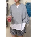 Pop Color Block Two Pieces V Neck Long Sleeve Oversized Pullover Sweatshirt