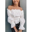 Chic Womens Bell Sleeve Off the Shoulder Ruffled Ruched Regular Fit Blouse Top in White