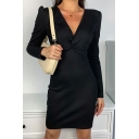 Stylish Womens Long Sleeve Deep V-neck Twist Front Short Bodycon Dress in Black