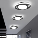 Drum and Ring Ceiling Light Fixture Minimalism Metal LED Doorway Flush Lamp in Black/Grey/Gold (The customization will be 7 days)