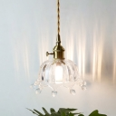 Domed Clear Glass Hanging Light Kit Kids 1 Lights Brass Pendant Lighting with Fringe