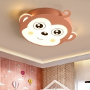 Monkey Head Shaped Flushmount Cartoon Metal Pink/Coffee Finish LED Flush Lighting for Kids Bedroom