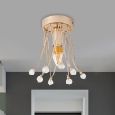 Simple Open Bulb Semi Mount Lighting Metal 1/3-Light Dining Room Ceiling Light Fixture with Crystal Accents