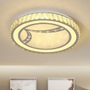 Modernity LED Ceiling Fixture Chrome Drum Flushmount Lighting with Beveled Crystal Shade in Warm/White Light