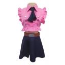 Sexy Anime Stringy Selvedge Sleeveless Point Collar Tied Metallic Button Regular Crop Shirt & Short A-line Skirt Set in Pink