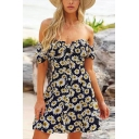Fashionable Womens Allover Sunflower Printed Off the Shoulder Button Up Short A-line Dress in Black