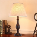Brown Bell Night Table Lamp Colonial Fabric LED Study Room Reading Light with Iron Base