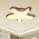 Acrylic Starfish Flush Mount Cartoon LED Close to Ceiling Lighting Fixture in White/Pink/Yellow