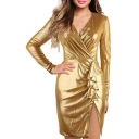 Womens Sexy Silk Gold Surplice V-Neck Long Sleeve Tied Waist Mini Sheath Wrap Dress
