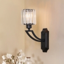 1 Head Cylinder Wall Light Fixture Vintage Black Prismatic Crystal Wall Sconce Lighting for Dining Room