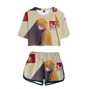 Popular Womens Cartoon Figure 3D Print Short Sleeve Crew Neck Relaxed Crop Tee & Contrasted Shorts Co-ords