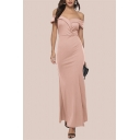 Elegant Ladies Solid Color Off the Shoulder Maxi Fishtail Cocktail Dress in Pink