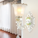White 1/2 Head Wall Sconce Traditional Cream Glass Floral Shade Up Wall Mounted Light Fixture