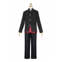 Cool Boys Black Long Sleeve Stand Collar Metallic Button up Contrasted Top Long Straight Pants Cape Co-ords