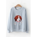 Cute Dog Flower Embroidered Long Sleeve Crew Neck Loose Fit Pullover Sweatshirt