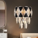 3-Head Clear K9 Crystal Wall Lighting Contemporary Black Layered Dining Room Sconce Light