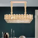 Crystal Gold Island Pendant Tiered Oblong 12 Bulbs Modern Stylish Suspension Lighting