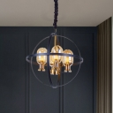 Black-Gold Globe Cage Chandelier Lamp Industrial 4/6 Heads Iron Ceiling Hang Fixture with Oblong Amber Glass Shade