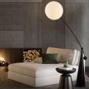 Black Globe Stand Up Light Modernism with Fishing Rod Design 1-Head White Glass Floor Lamp