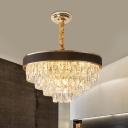 Tiered Tapered Clear Crystal Drop Lamp Modern 8/10-Head 18