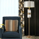 Silver 1-Head Floor Light Postmodern Fabric Drum Shade Stand Up Lamp with Decorative Crystal Rods