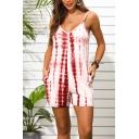 Womens Chic Tie Dye Crocodile Print Spaghetti Strap V-neck Romper with Pocket
