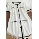 Glamorous Womens Contrast Stitching Button Down Crew Neck Short Sleeve Short A-line Knit Dress