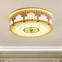 Modern Flush Mount Drum Light Prismatic Optical Crystal LED Bedroom Close to Ceiling Lighting Fixture in Gold