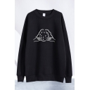 Lovely Pullover Sweatshirt Cartoon Illustration Figure Printed Round Neck Full Sleeve Relaxed Fit Pullover Sweatshirt for Men