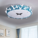 Butterfly-Embellished Drum LED Flushmount Modernist Clear/Amber Beveled Crystal Ceiling Flush Light, 19.5