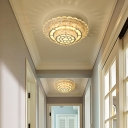 Round/Square Tiers Corridor Flush Mount Modernist Crystal LED Chrome Ceiling Mounted Light