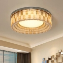Hollowed Out Drum Bedroom Ceiling Lamp Modern Clear Crystal Stainless Steel LED Flush Mount, 23.5